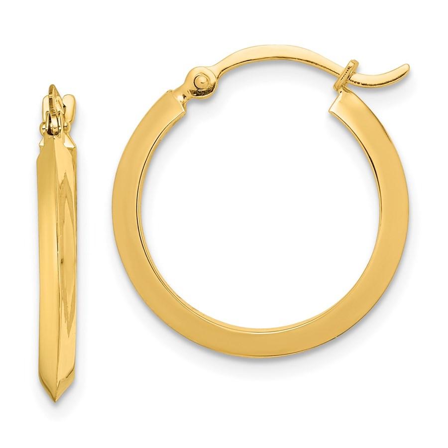 14K Polished Hoop Earrings - 19.5 mm