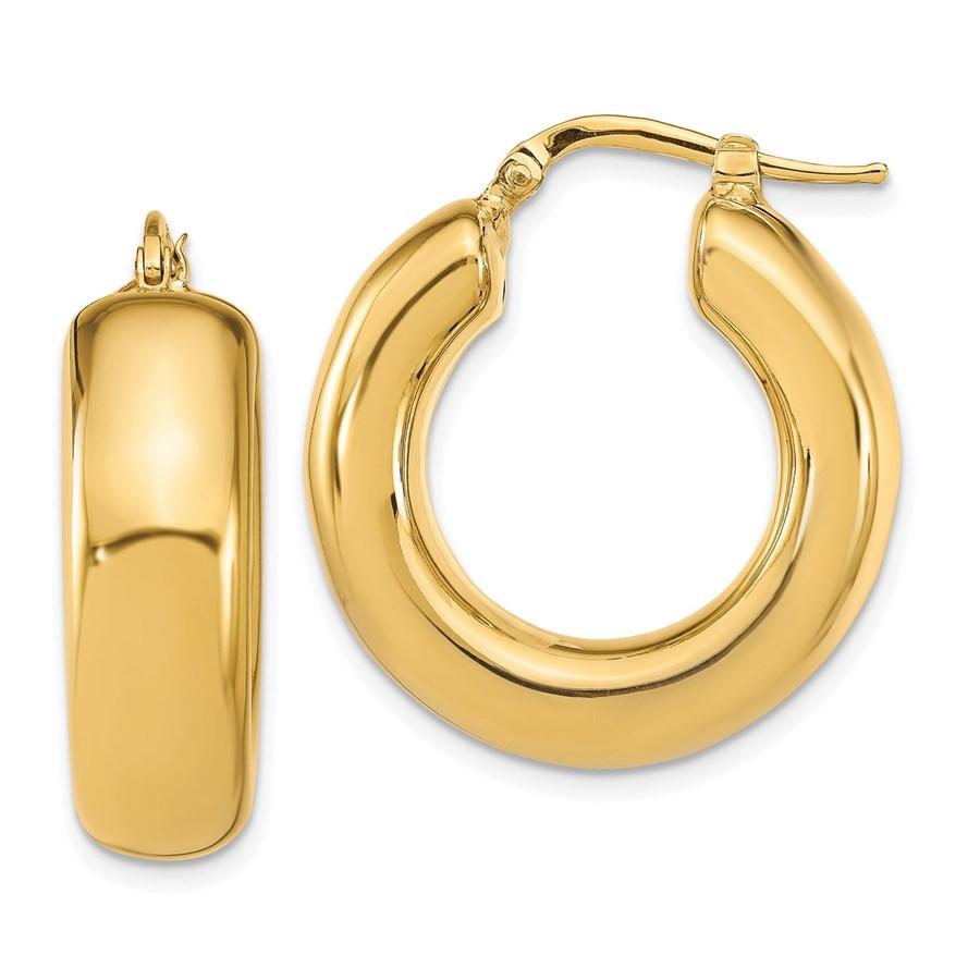14K Polished Hoop Earrings - 27.5 mm
