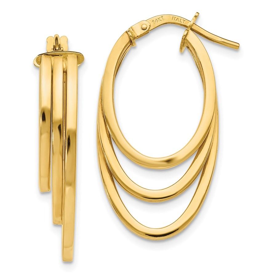 14K Polished Hoop Earrings - 29.25 mm