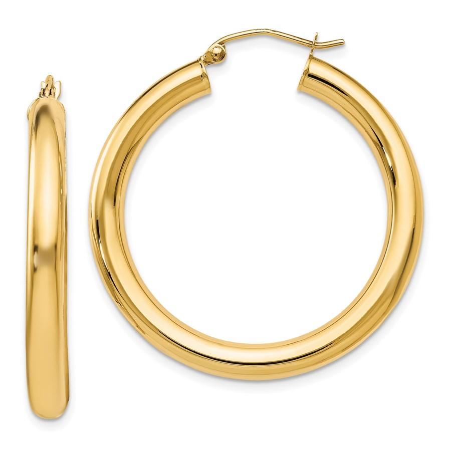 14K Polished Lightweight Hoop Earrings - 37 mm