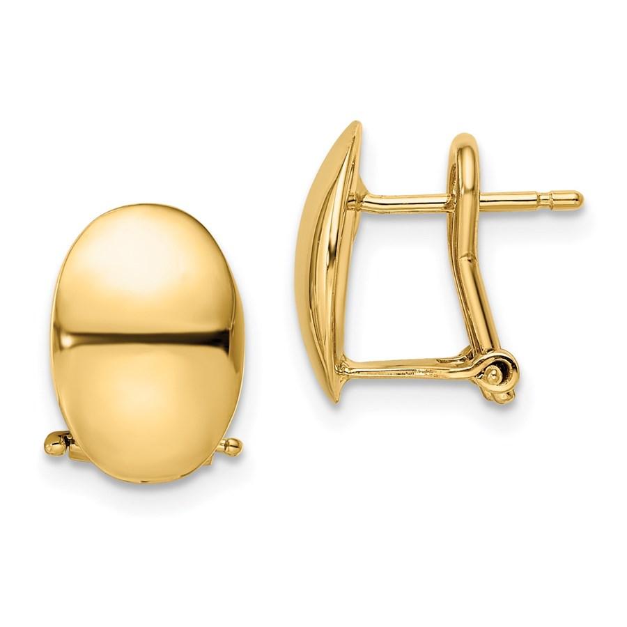 14K Polished Omega Back Earrings - 12.5 mm