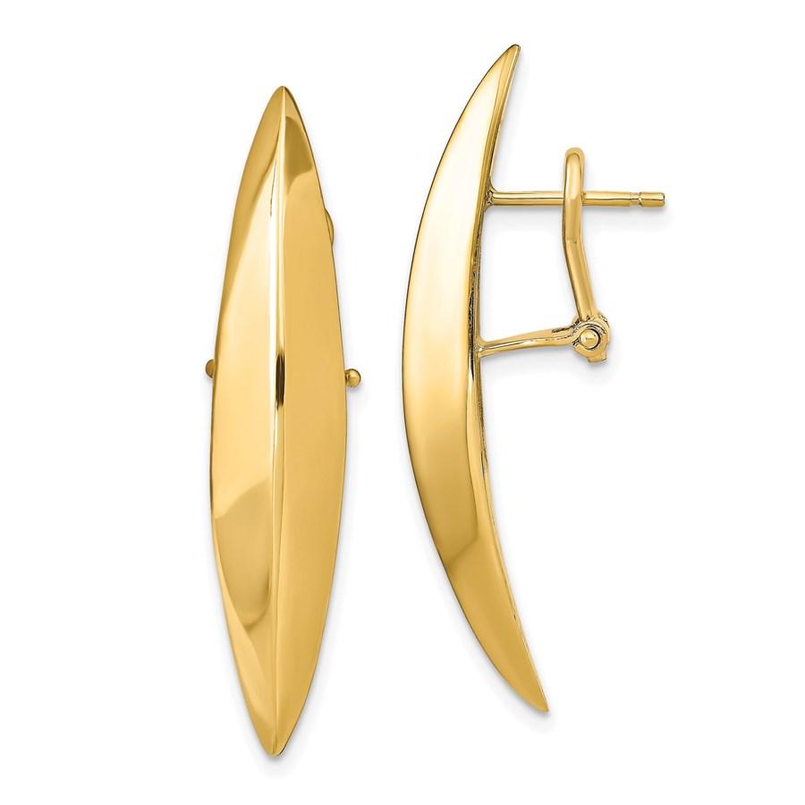 14K Polished Omega Back Earrings - 36.01 mm