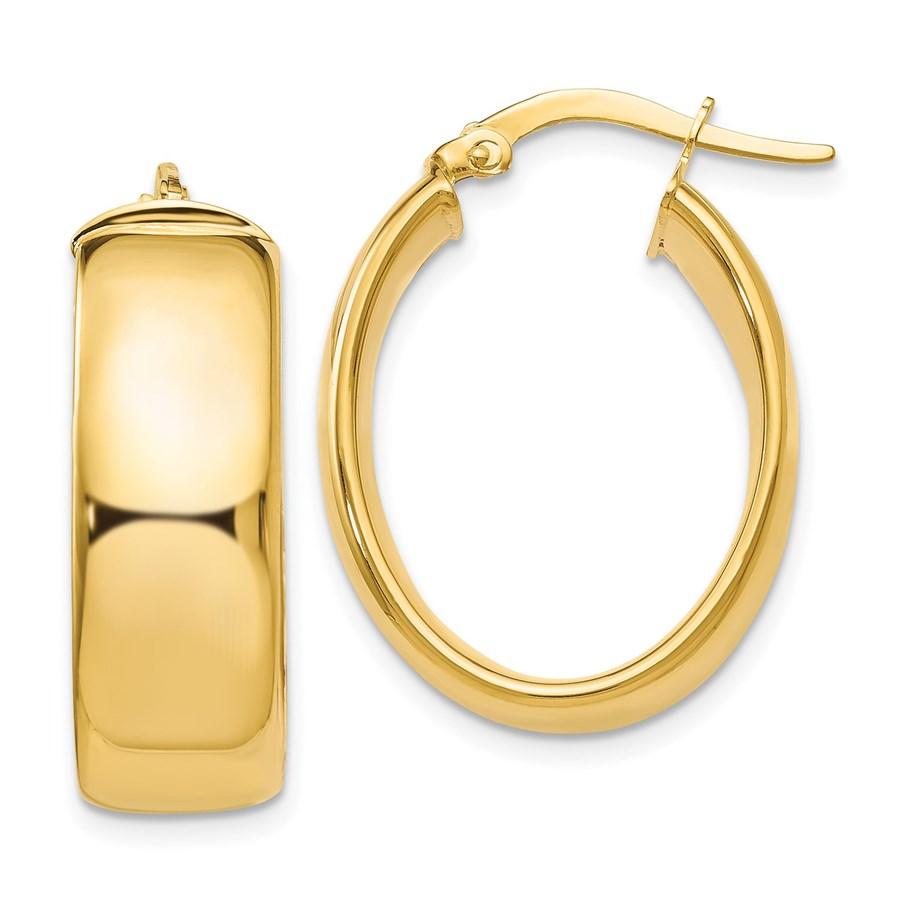 14K Polished Oval Hoop Earrings - 26 mm
