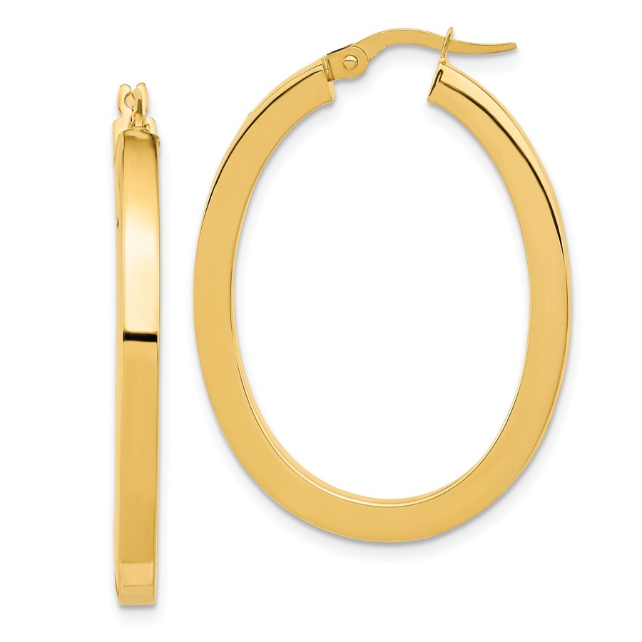 14K Polished Oval Hoop Earrings - 37.75 mm