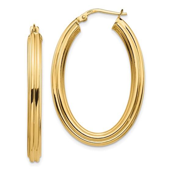 14K Polished Oval Hoop Earrings - 38.42 mm