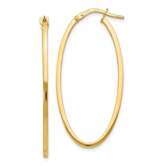 14K Polished Oval Hoop Earrings - 40 mm