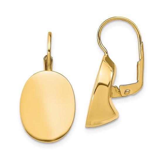 14K Polished Oval Leverback Earrings - 25.07 mm