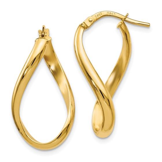 14K Polished Oval Twisted Hoop Earrings - 24 mm