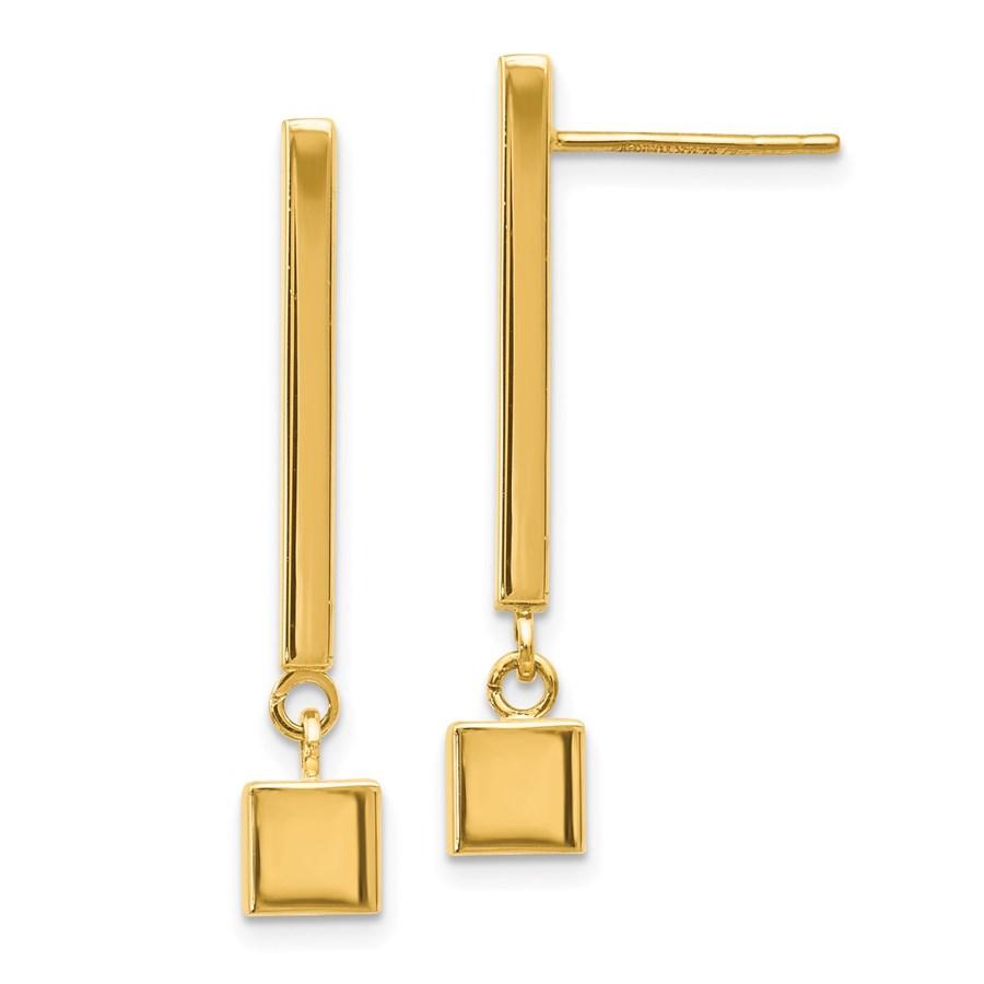 14K Polished Post Dangle Bar Earrings - 30 mm