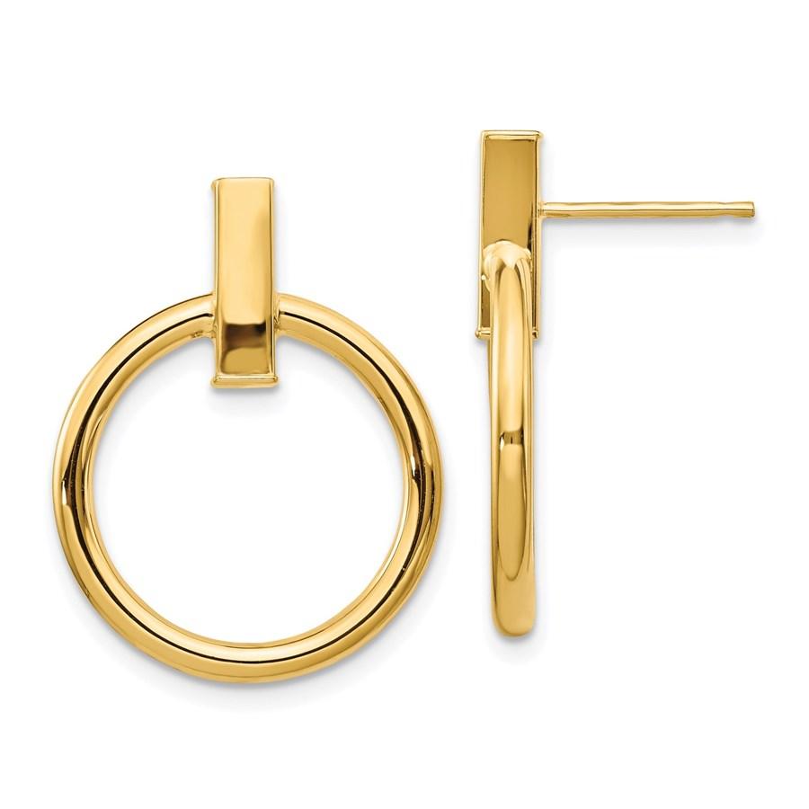 14K Polished Post Dangle Earrings - 24 mm