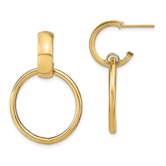 14K Polished Post Dangle Earrings - 31.16 mm