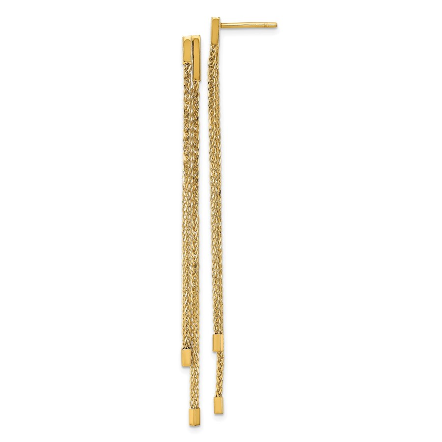 14K Polished Post Dangle Earrings - 69.3 mm