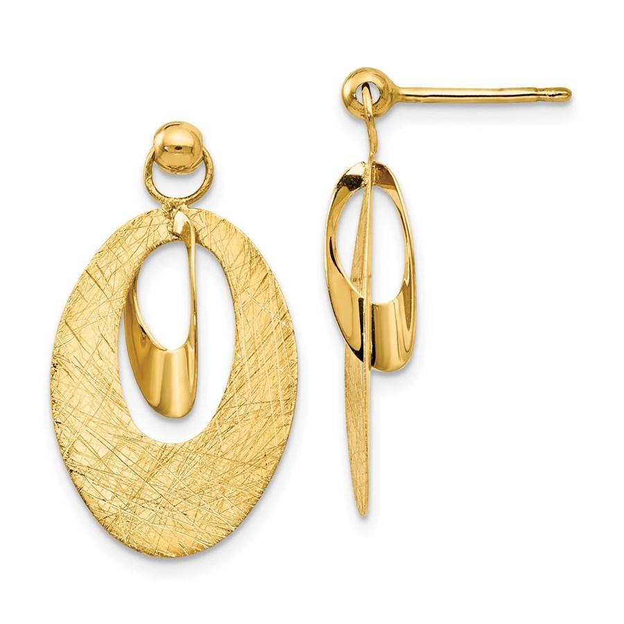 14K Polished & Scratch Finish Oval Post Earrings - 24 mm