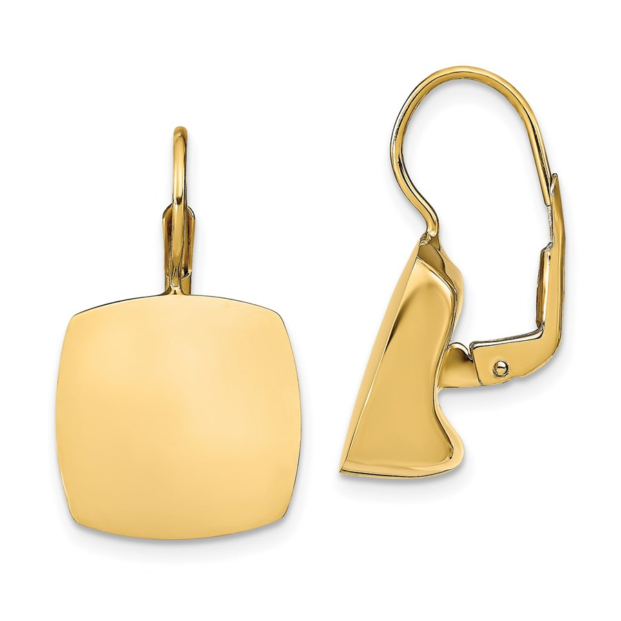 14K Polished Square Leverback Earrings - 24.79 mm
