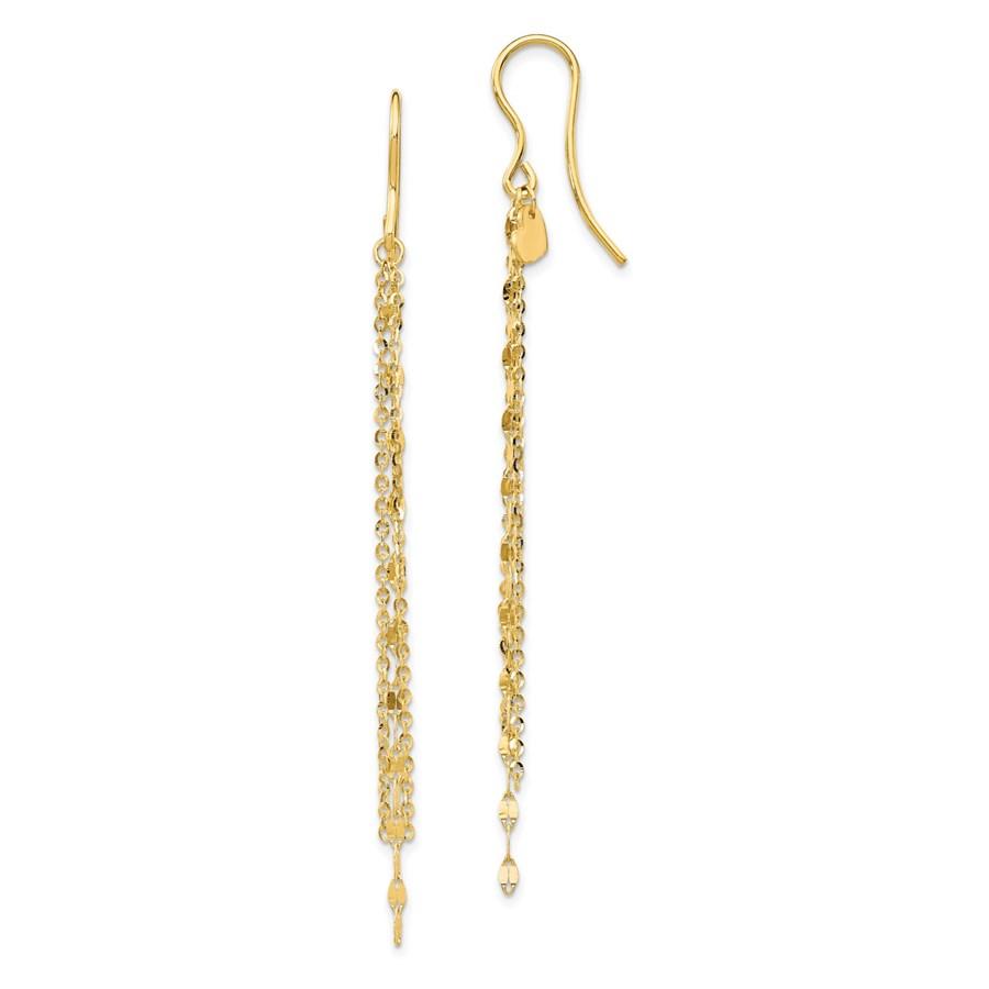 14K Polished Tassel Dangle Shephard Hook Earrings - 75 mm