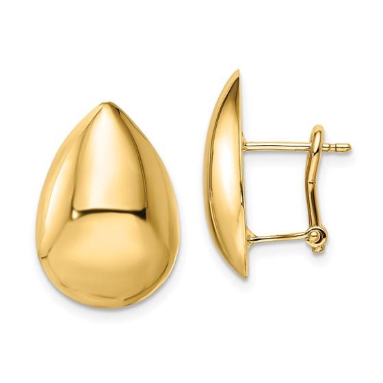 14K Polished Teardrop Omega Back Earrings - 19.75 mm