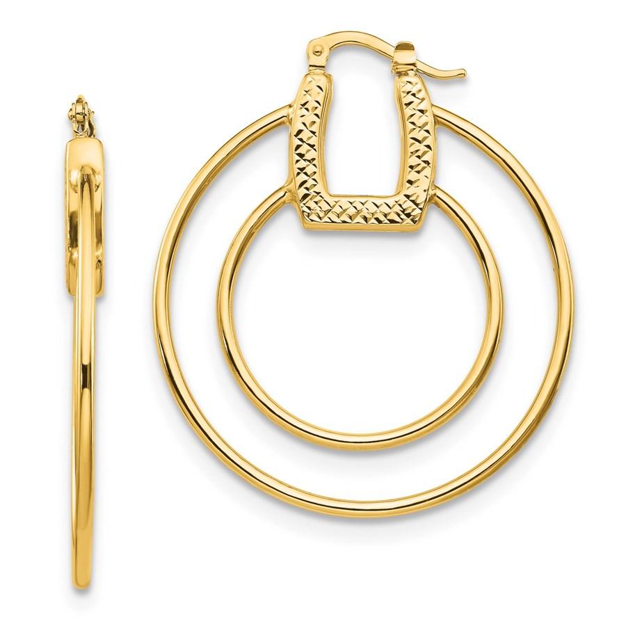 14K Polished & Textured Fancy Hoop Earrings - 41.44 mm