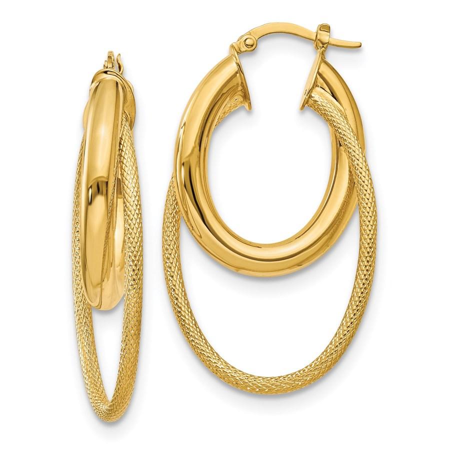 14K Polished & Textured Fancy Hoop Earrings - 43 mm