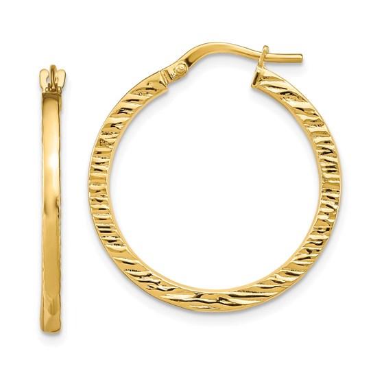 14K Polished Textured Hoop Earrings - 26.27 mm