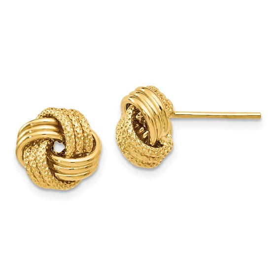 14K Polished Textured Love Knot Earrings - 9.5 mm