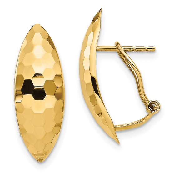 14K Polished & Textured Omega Back Earrings - 21.04 mm