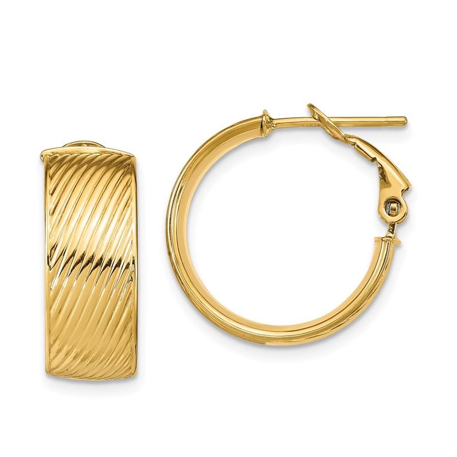 14K Polished Textured Omega Back Hoop Earrings - 18.68 mm