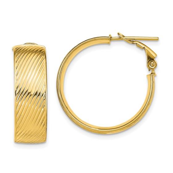 14K Polished Textured Omega Back Hoop Earrings - 25.49 mm