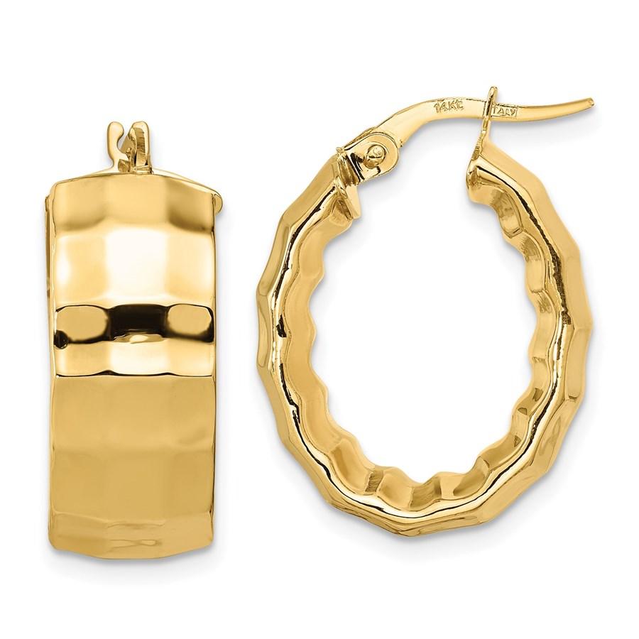 14K Polished Textured Oval Hoop Earrings - 23.52 mm