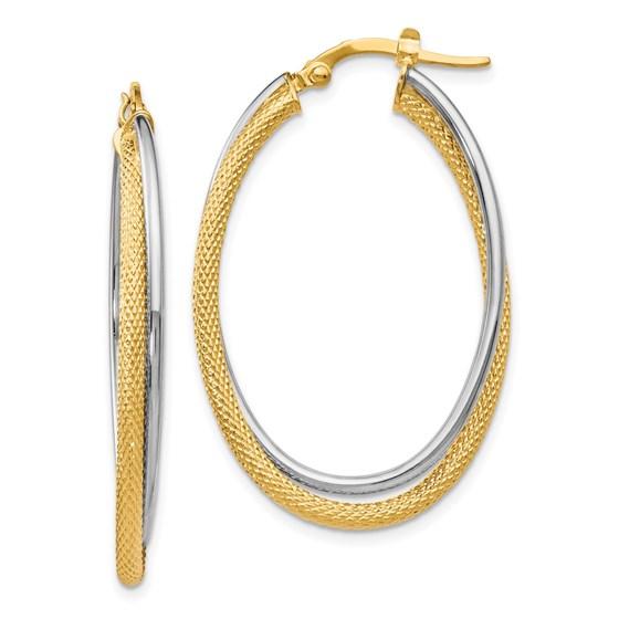 14K Polished Textured Oval Hoop Earrings - 39.5 mm