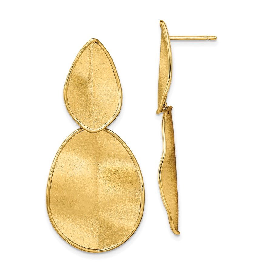 14K Polished Textured Post Dangle Earrings - 43.93 mm