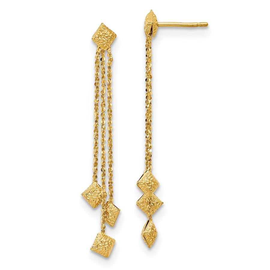 14K Polished & Textured Post Dangle Earrings - 47 mm