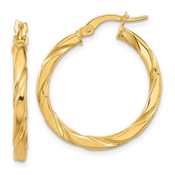14K Polished Textured Twisted Hoop Earrings - 26 mm