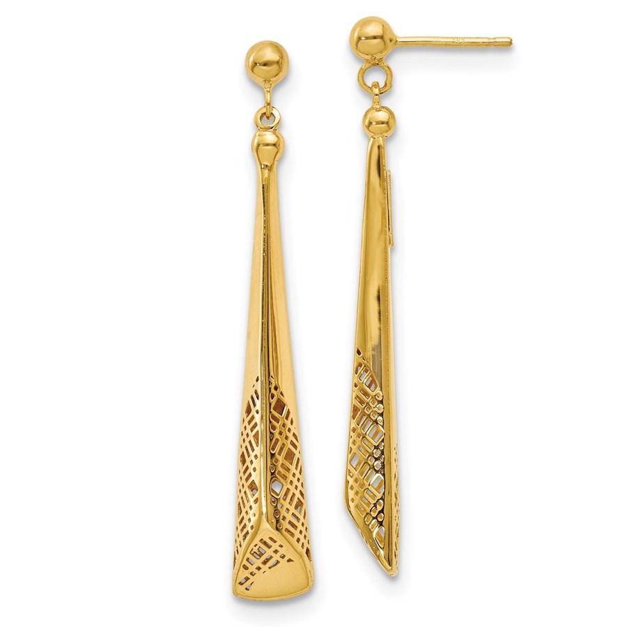 14K Polished Triangle Dangle Earrings - 50 mm