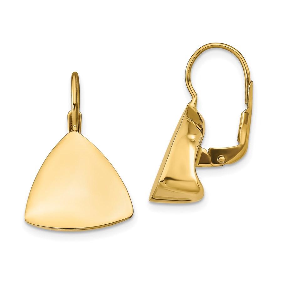 14K Polished Triangle Leverback Earrings - 24.01 mm
