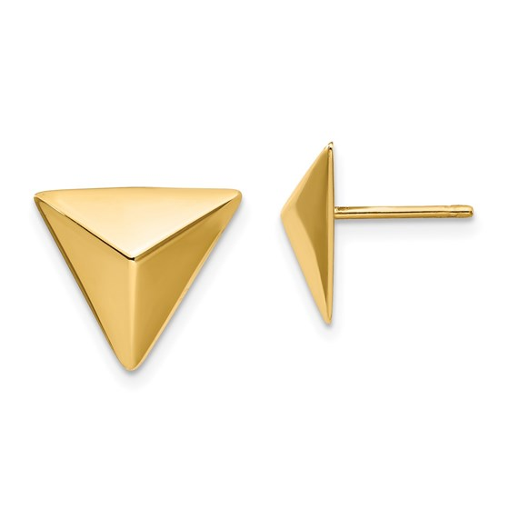 14K Polished Triangle Post Earrings - 11.9 mm