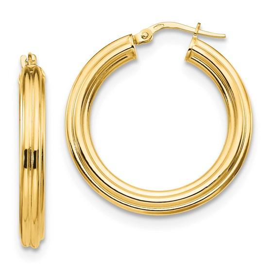14K Polished Tube Hoop Earrings - 29.73 mm
