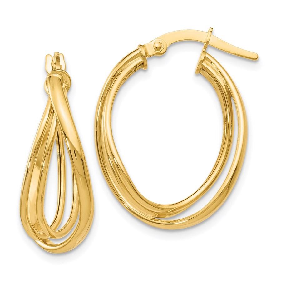 14K Polished Twist Hoop Earrings - 21 mm