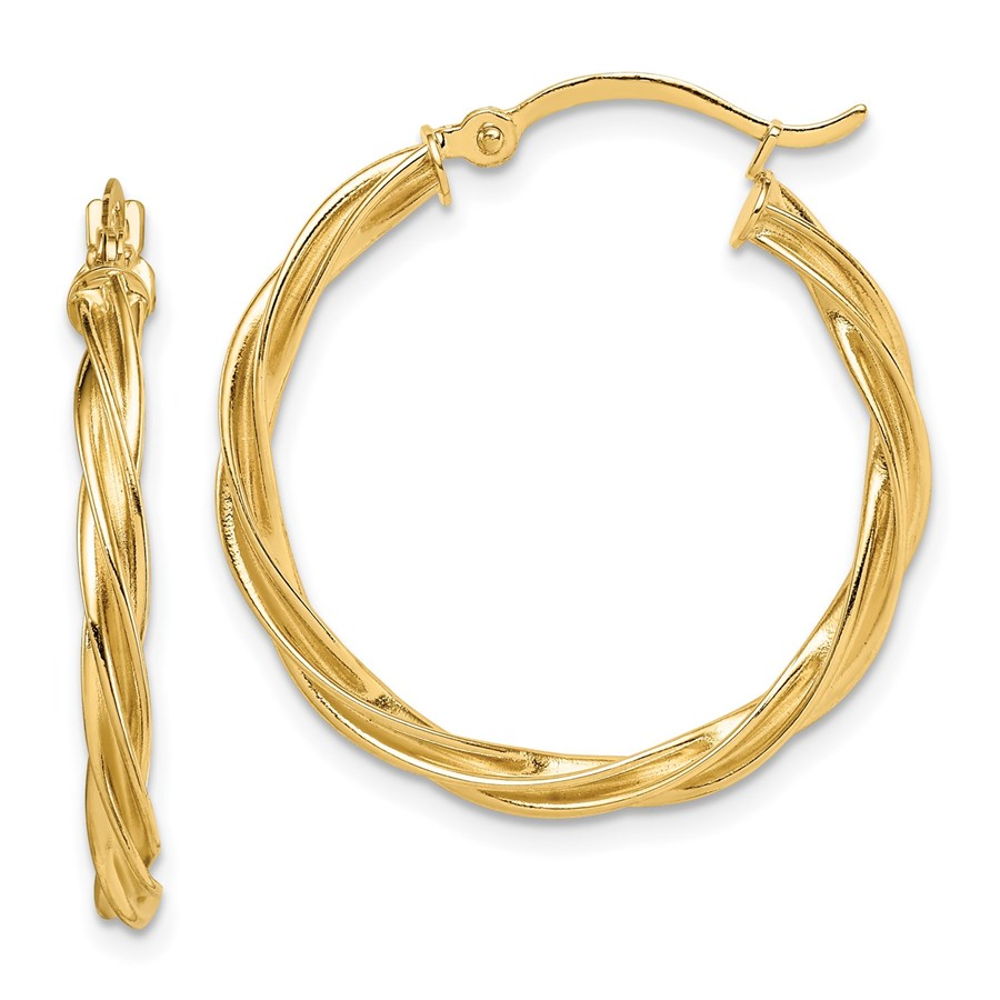 14K Polished Twisted 2.5mm Hoop Earrings - 26.5 mm