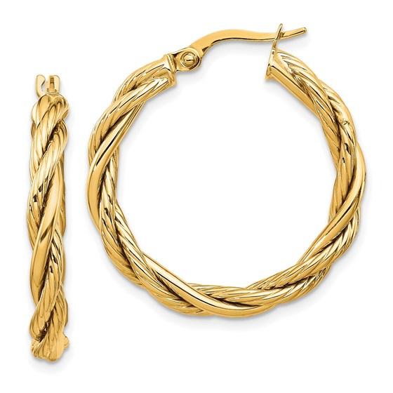 14K Polished Twisted Hoop Earrings - 28 mm