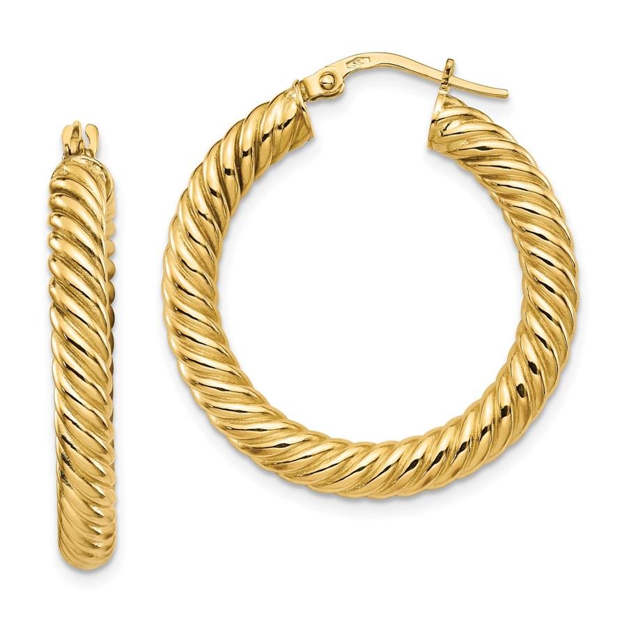 14K Polished Twisted Hoop Earrings - 30 mm