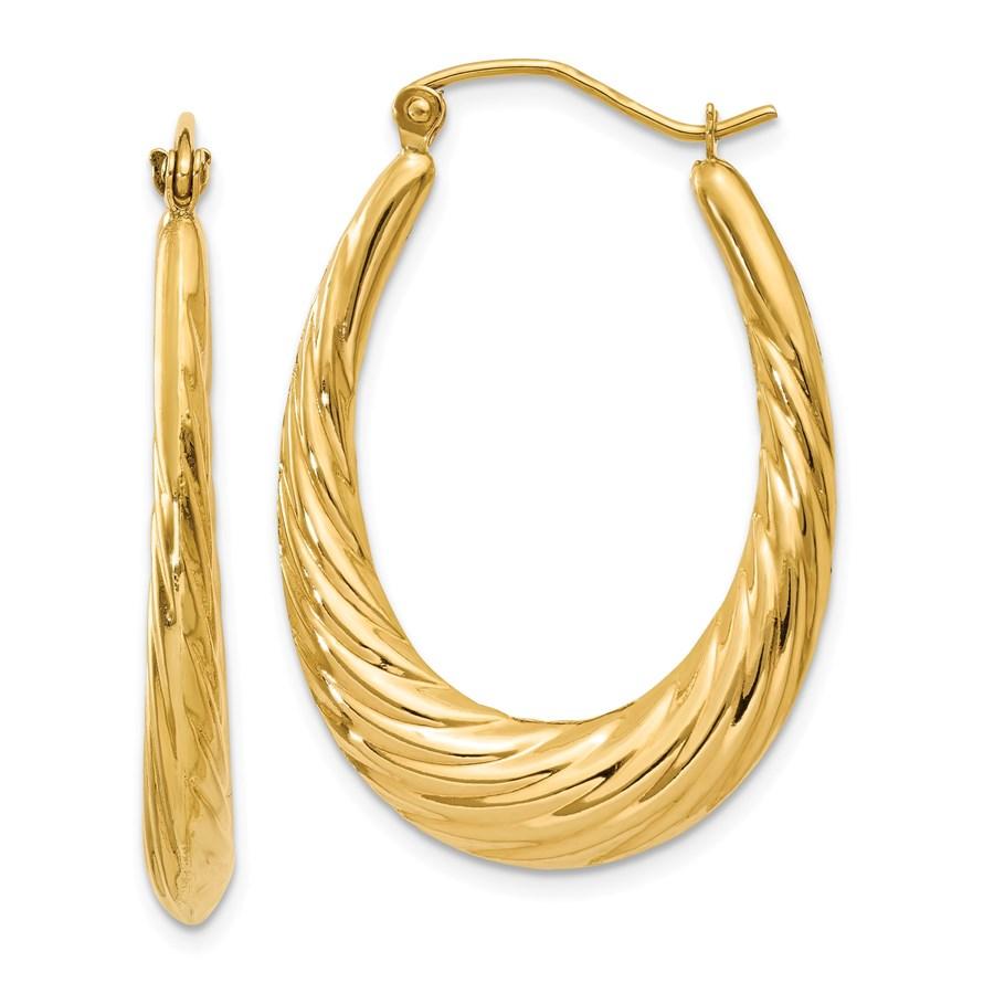 14k Polished Twisted Oval Hollow Hoop Earrings