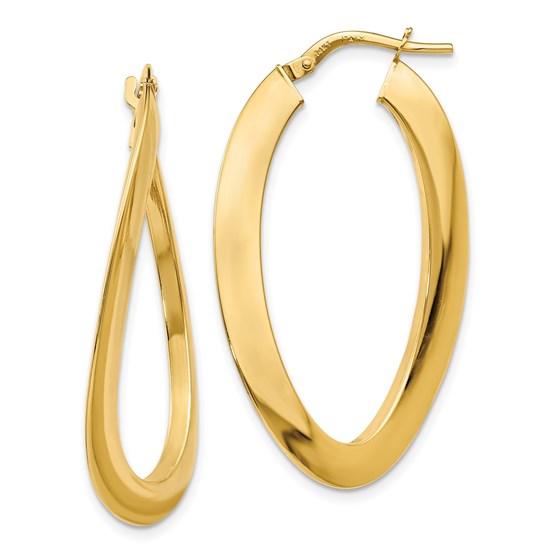 14K Polished Twisted Oval Hoop Earrings - 38 mm