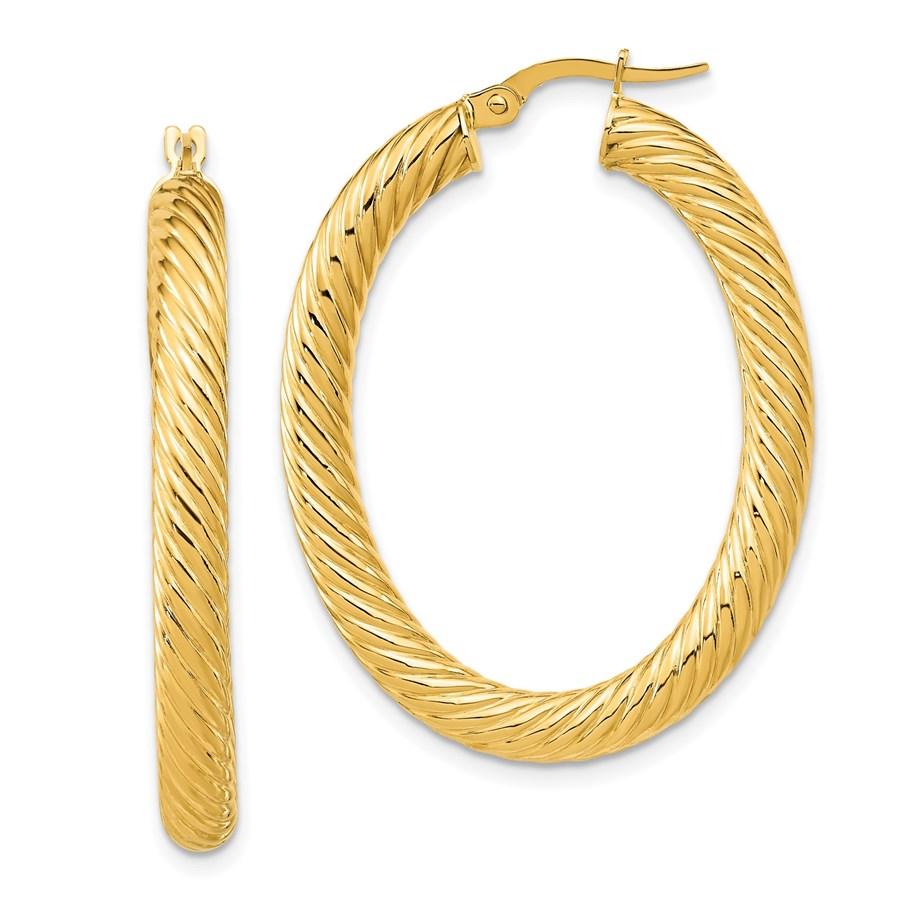14K Polished Twisted Oval Hoop Earrings - 39.6 mm