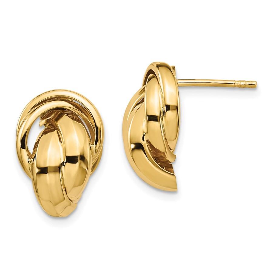 14K Polished Twisted Post Earrings - 16.33 mm