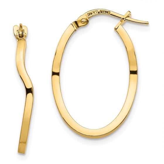 14K Polished Wavy Fancy Hoop Earrings - 23.67 mm