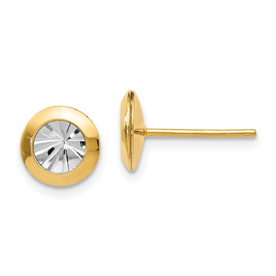 14K Rhodium and Polished and D/C Post Earrings - 8 mm
