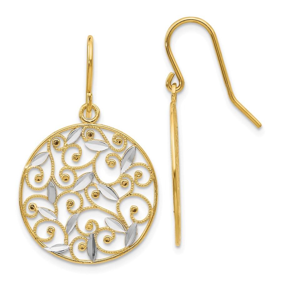 14k & Rhodium Diamond-cut Filigree Circle Wire Earrings