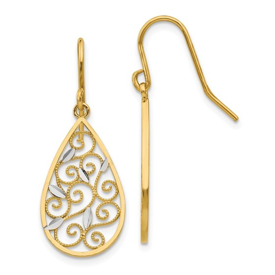 14k & Rhodium Diamond-cut Filigree Teardrop Wire Earrings