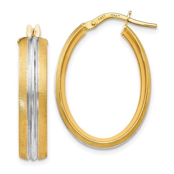 14K Rhodium-plated Textured Hoop Earrings - 27.75 mm