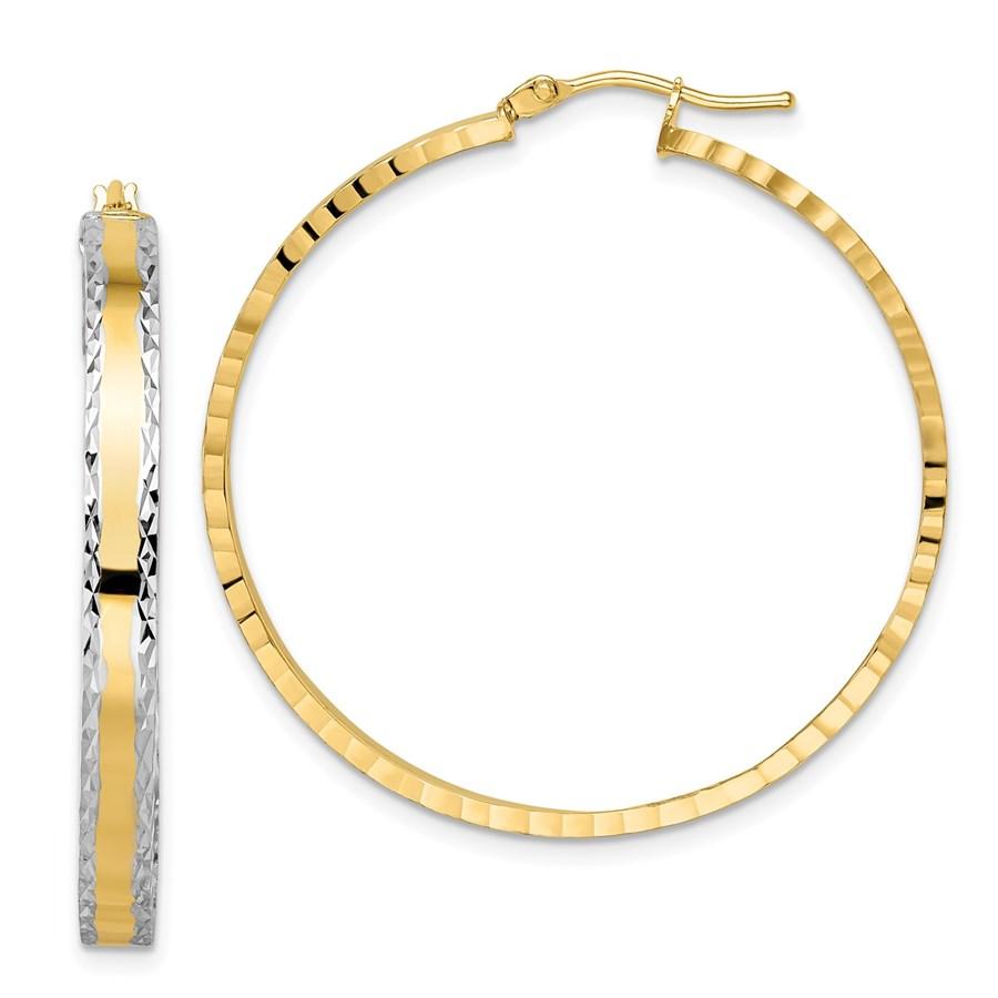 14K Rhodium Polished D/C Hoop Earrings - 38.4 mm